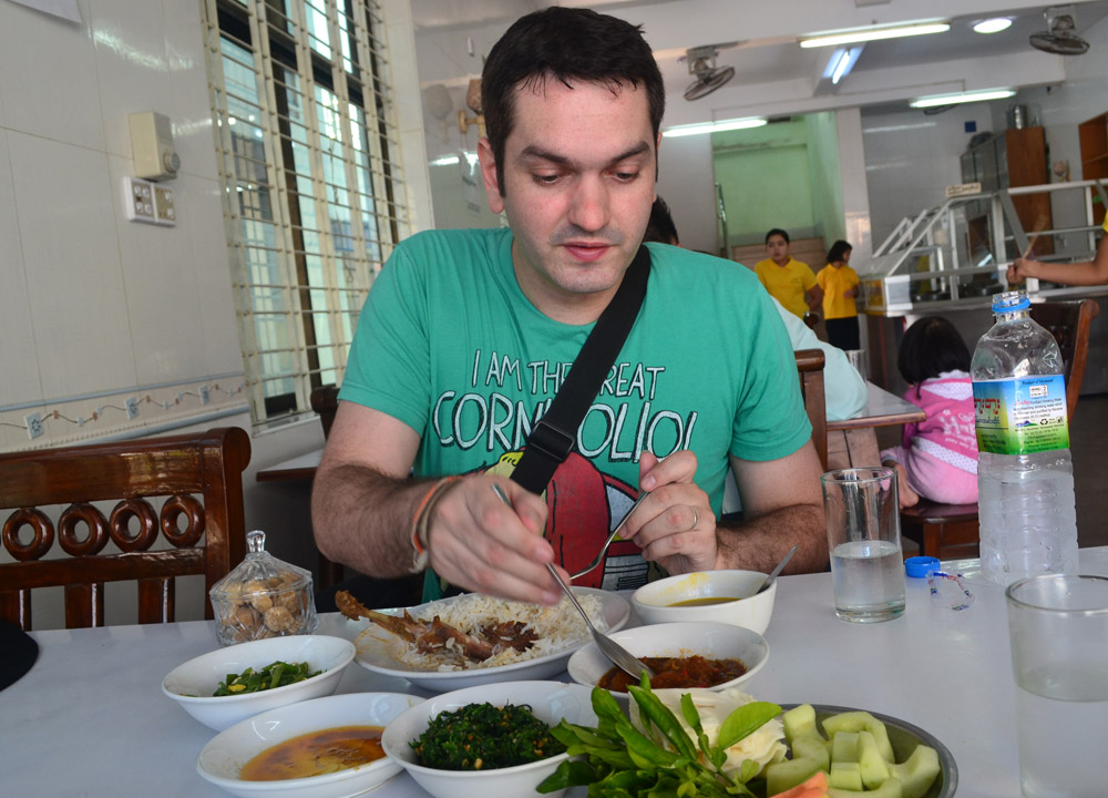 Allan Wilson with Traditional Burmese Meal, Top 10 Burmese Food, Eating Myanmar, Burma