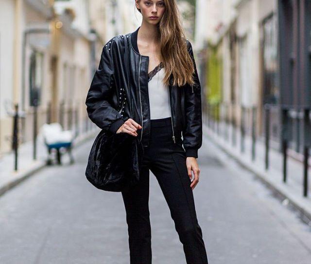 Moto Jacket And Black Straight Leg Jeans