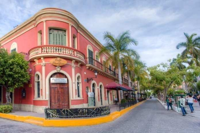 Colonial style buildings line the Plaza Machado in Old Mazatlan, Mexico