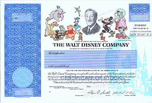 Collectible Disney Stock Certificates Off To Never Never Land