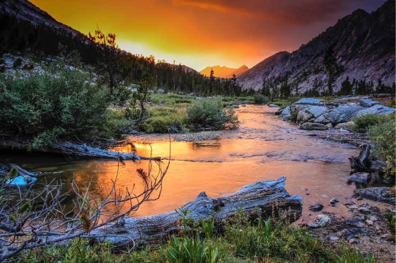 sunset on creek