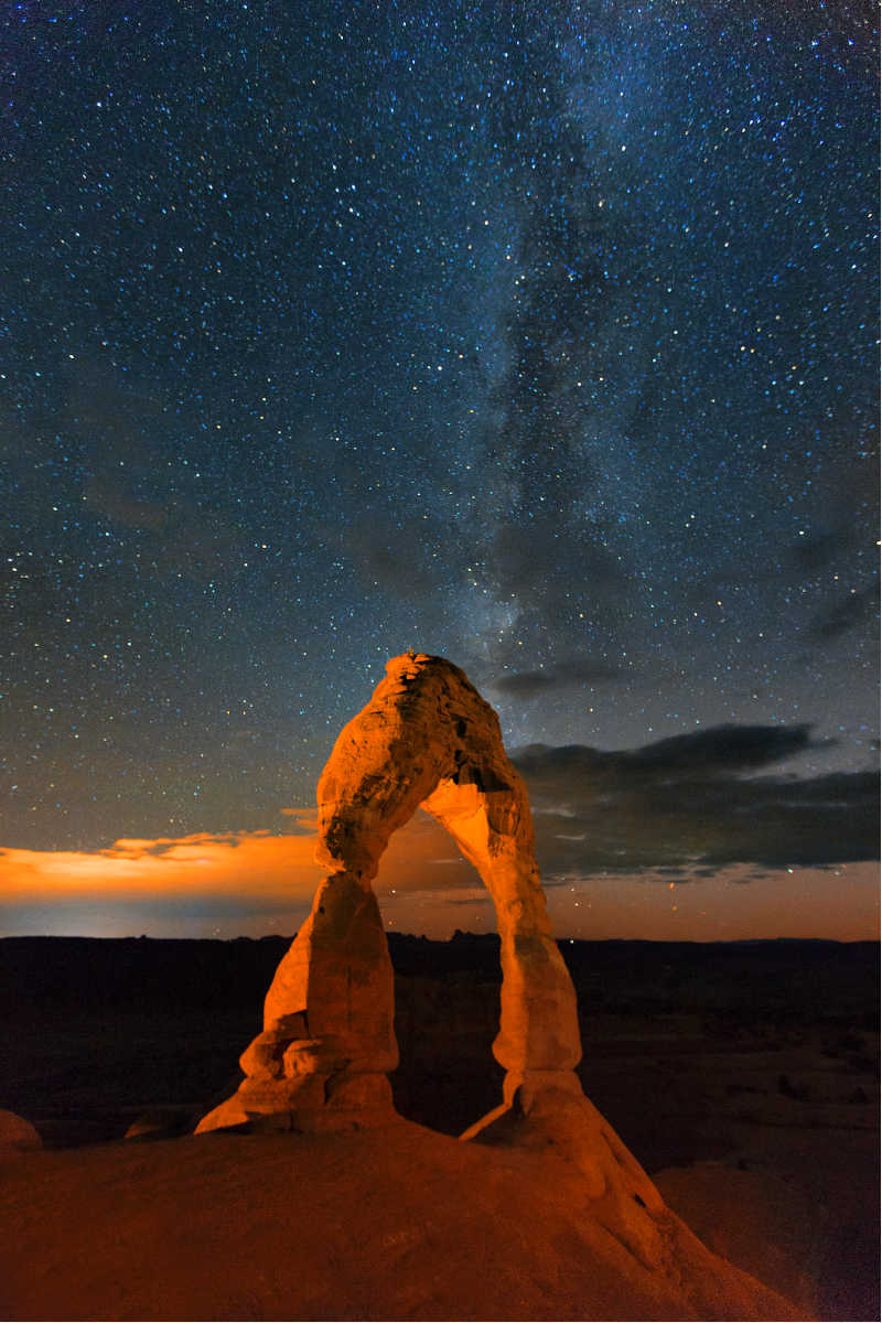 arches national park at nightime