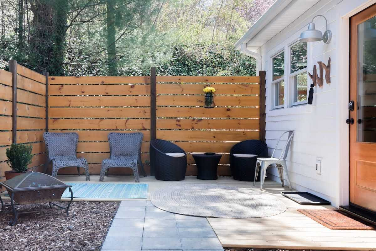 patio with wooden walls