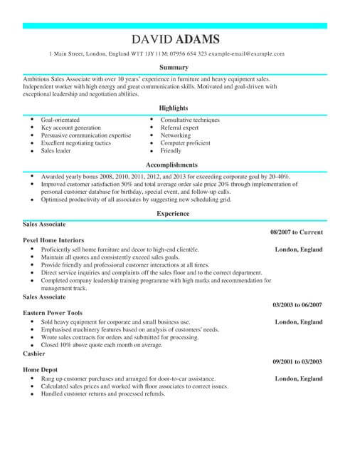 Sales Assistant CV Template CV Samples Amp Examples