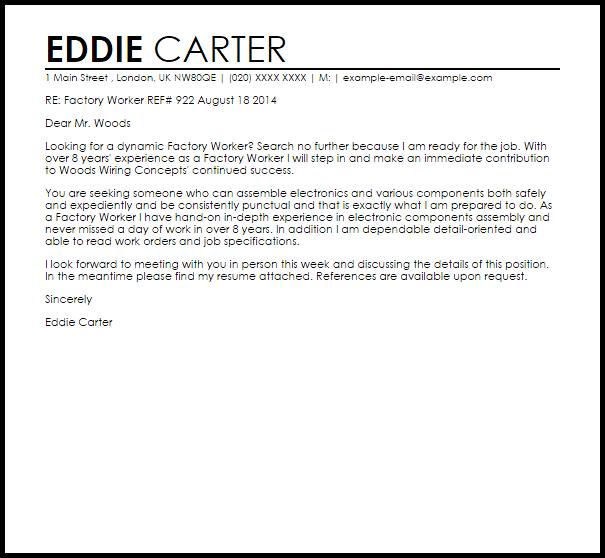 Factory Worker Cover Letter Sample Livecareer