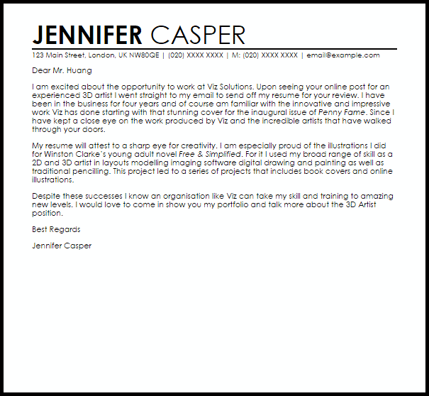 3D Artist Cover Letter Sample Cover Letter Templates Amp Examples