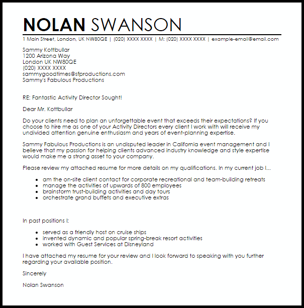 Activity Director Cover Letter Sample Cover Letter Templates Amp Examples