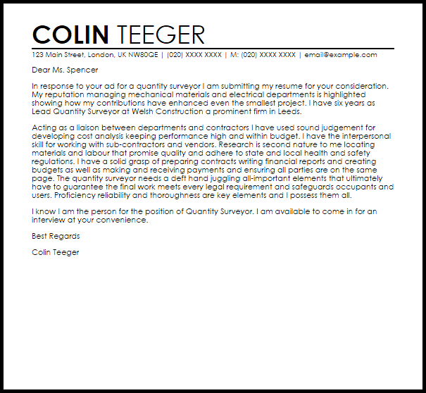 Quantity Surveyor Cover Letter Sample Cover Letter