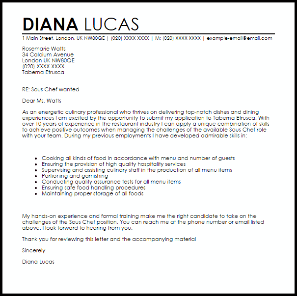 Sous Chef Cover Letter Sample Cover Letter Templates Examples
