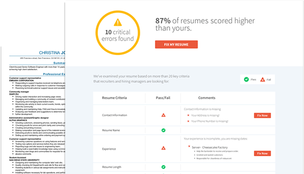 resume check free resume review livecareer