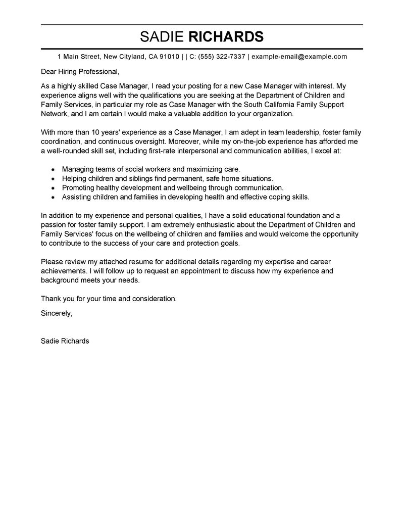 case manager cover letter examples social services cover letter