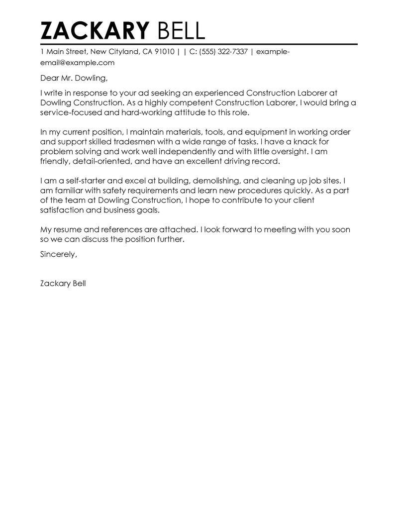 construction labor cover letter examples construction cover letter