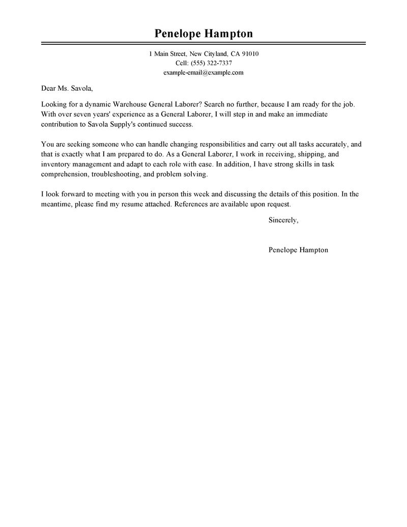 general labor cover letter examples warehouse amp production cover