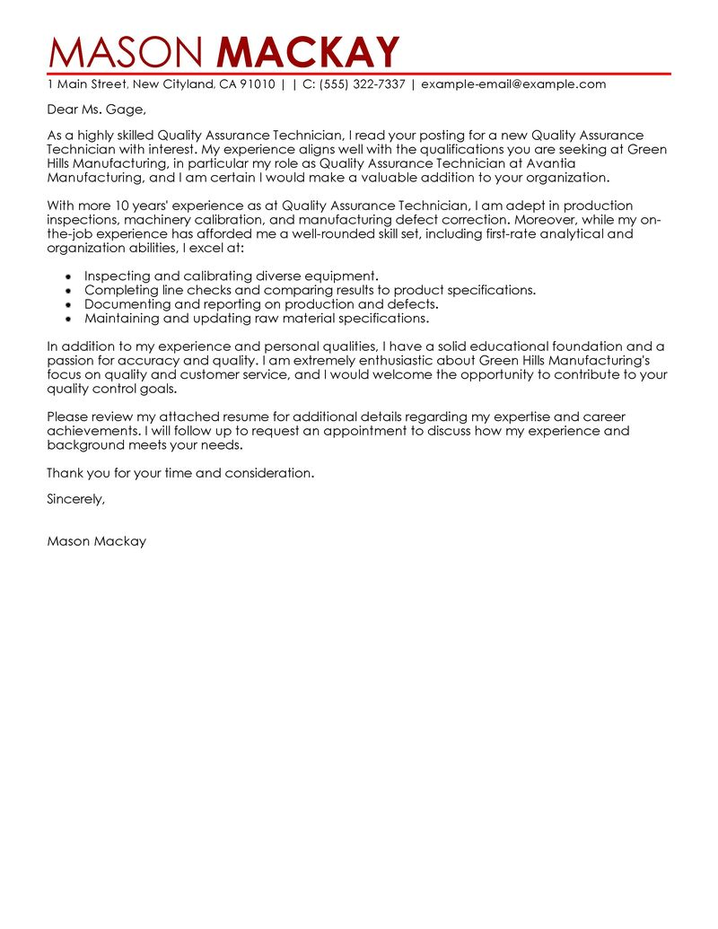Quality Assurance Cover Letter Examples Wellness Cover Letter Samples LiveCareer