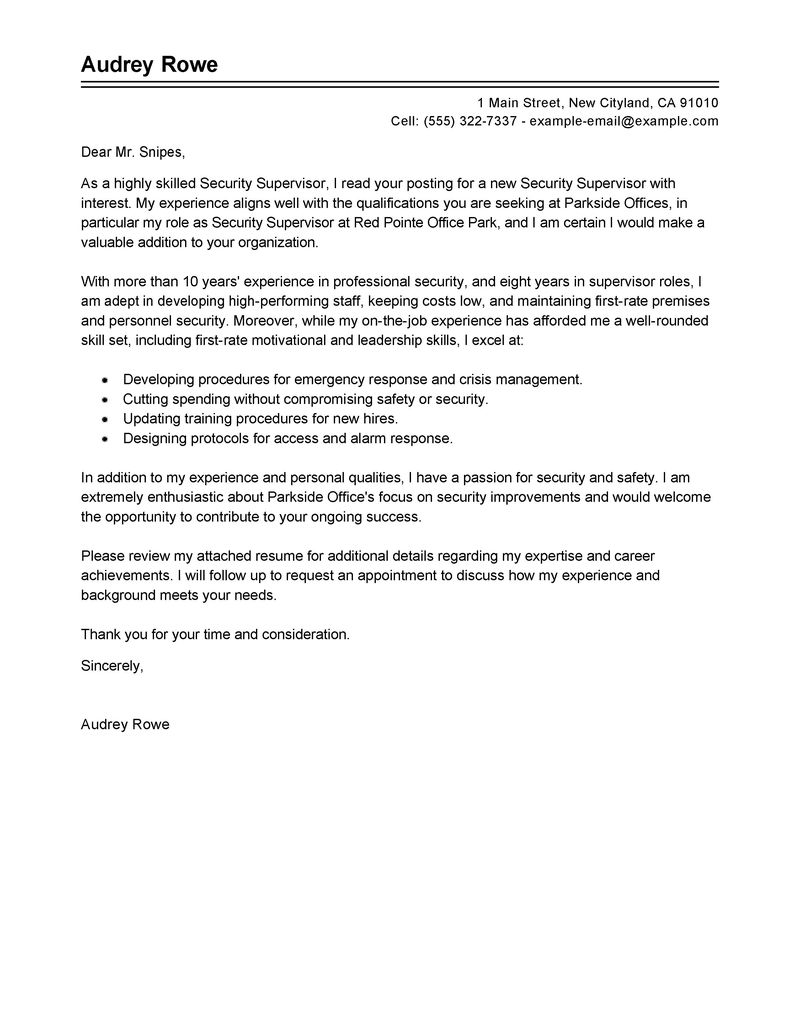 Security Supervisor Cover Letter Examples Law Enforcement Amp