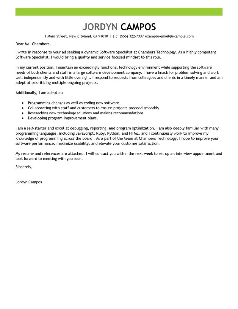 software specialist cover letter examples computers amp technology