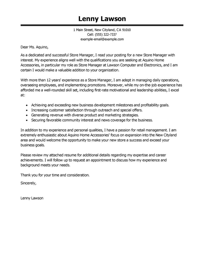 store manager cover letter examples management cover letter samples