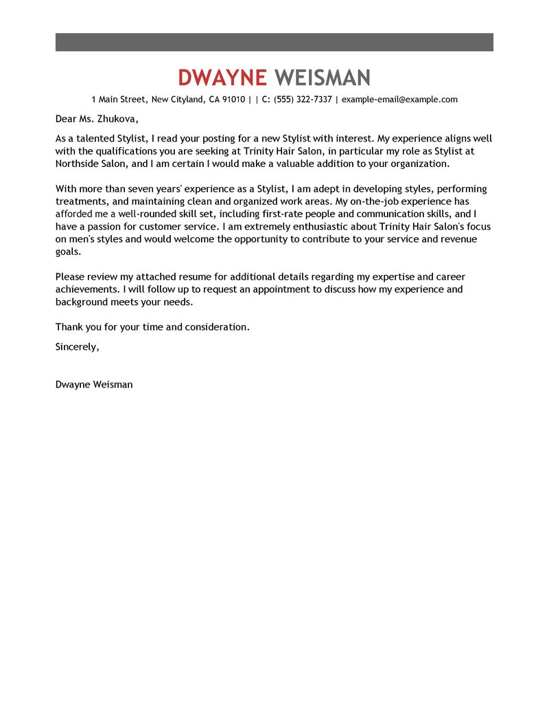 Stylist Cover Letter Examples Salon Spa Fitness Samples