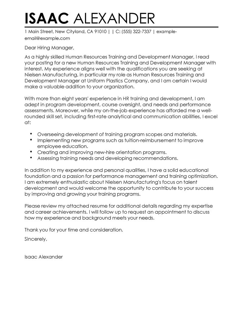 training and development cover letter examples human resources cover