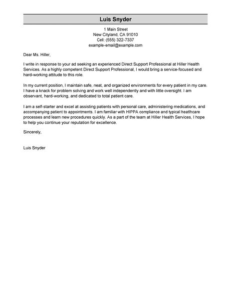 direct support professional cover letter examples healthcare cover