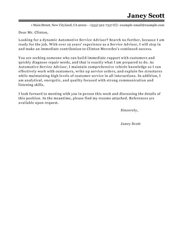 Cover letter for customer service advisor examples