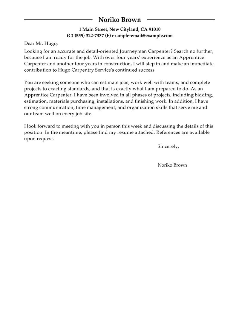 best apprentice carpenter cover letter examples livecareer