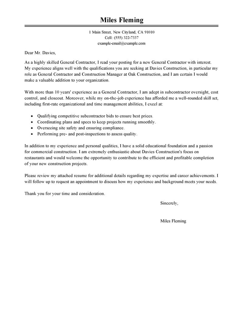 best general contractor cover letter examples livecareer