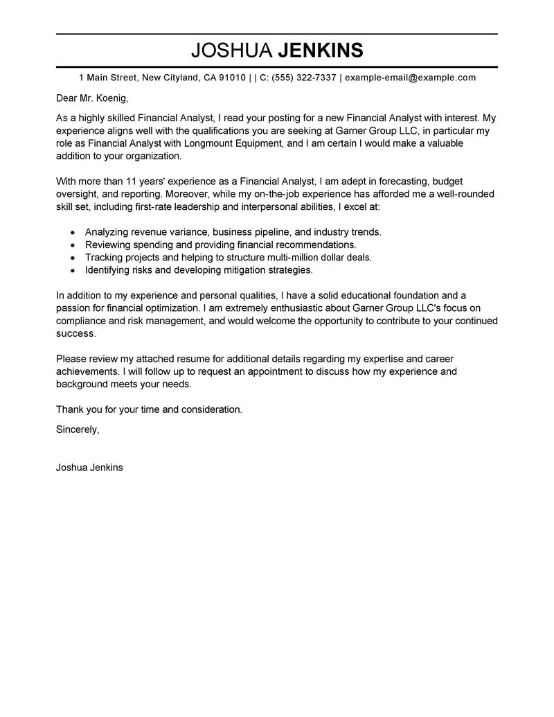 Analyst Cover Letters » 39+ Free Cover Letter Samples | Free ...