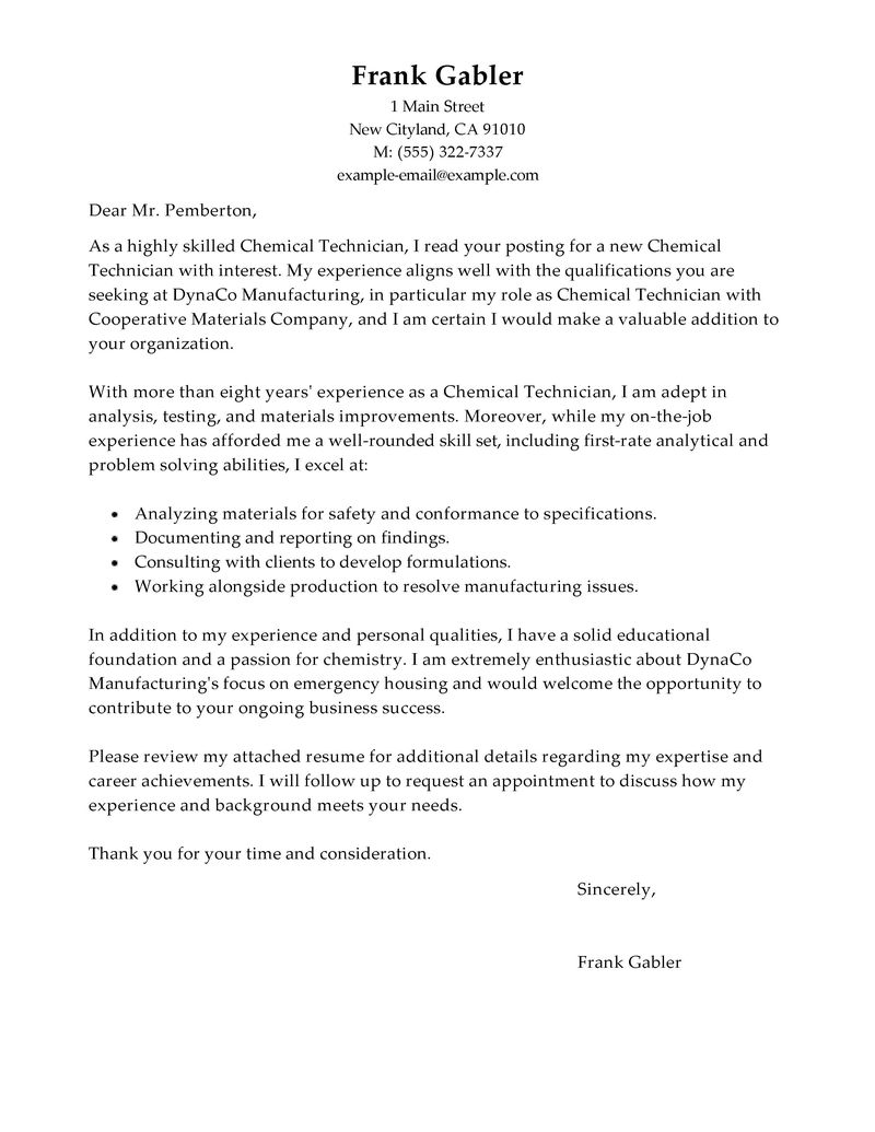 Technician Cover Letter Choice Image - Cover Letter Ideas