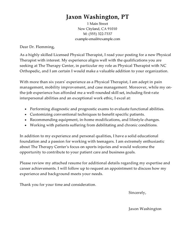 Physical Therapy Aide Cover Letter Image collections - Cover ...