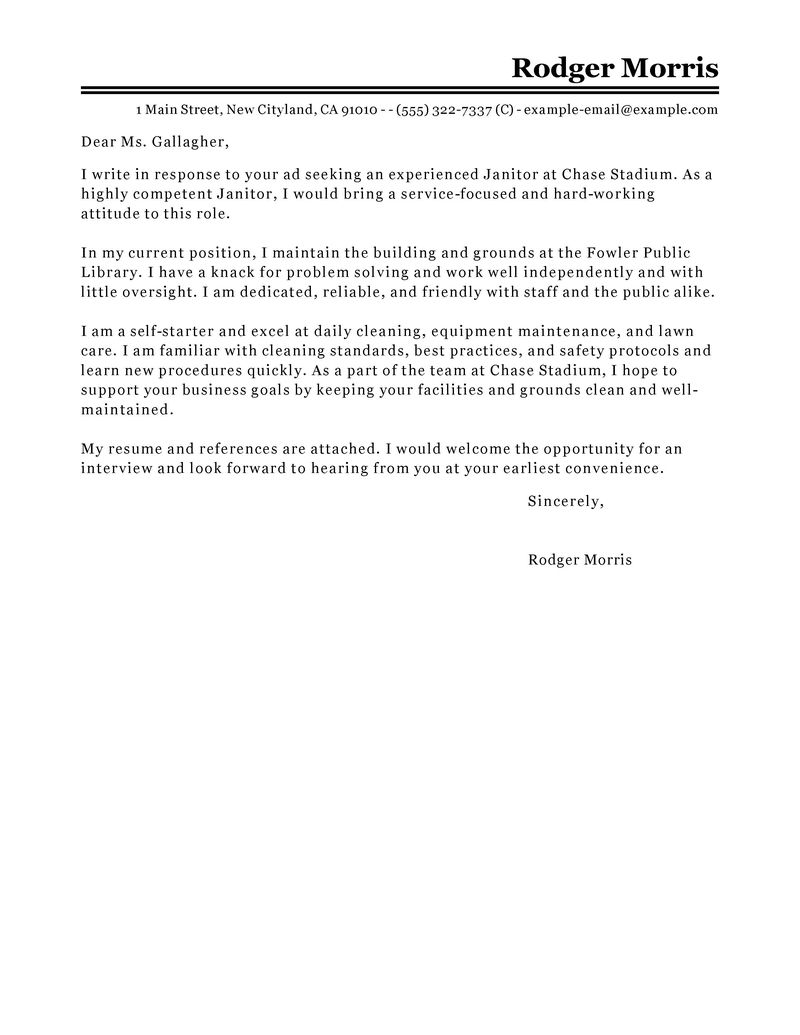 best maintenance janitorial cover letter examples livecareer