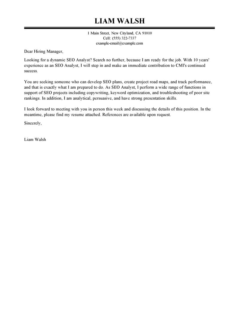 best seo cover letter examples livecareer