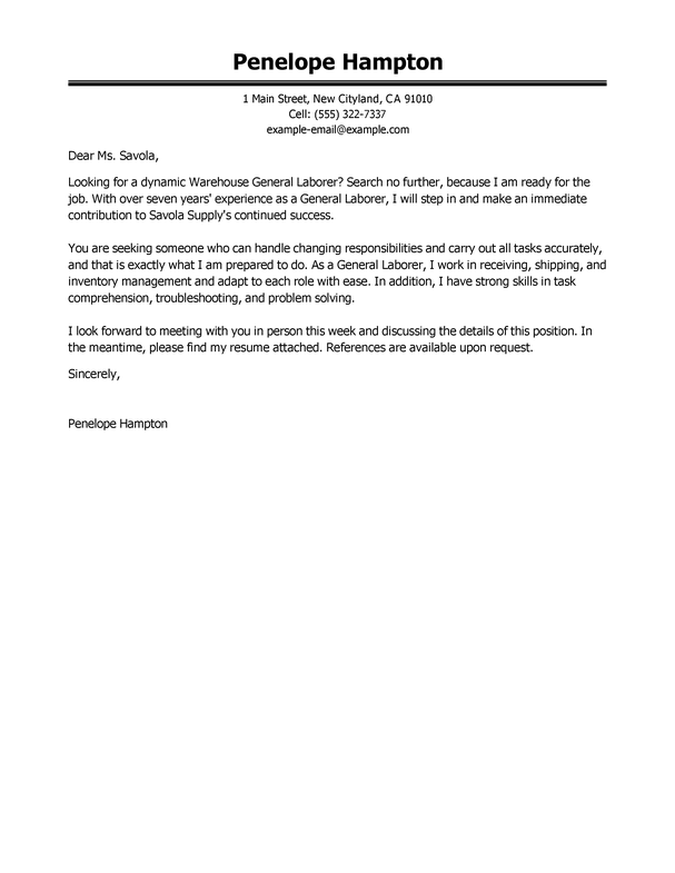 Sample Cover Letter For General Labor Job | Mytemplate.co