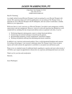 Cover Letter Exles For Physical Therapy Istant With No Experience The Lication Sle New Graduate