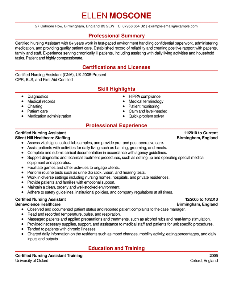 Cna Resume Samples Free Certified Nursing Assistant Resume