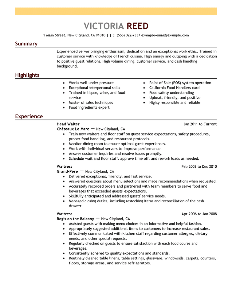 example of resume summary
