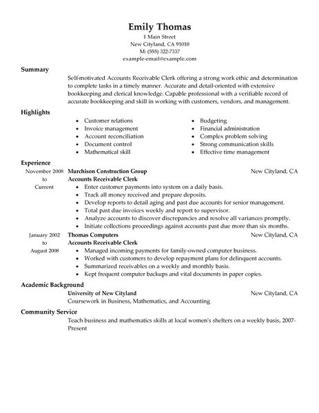 accounts receivable resume samples accounts receivable