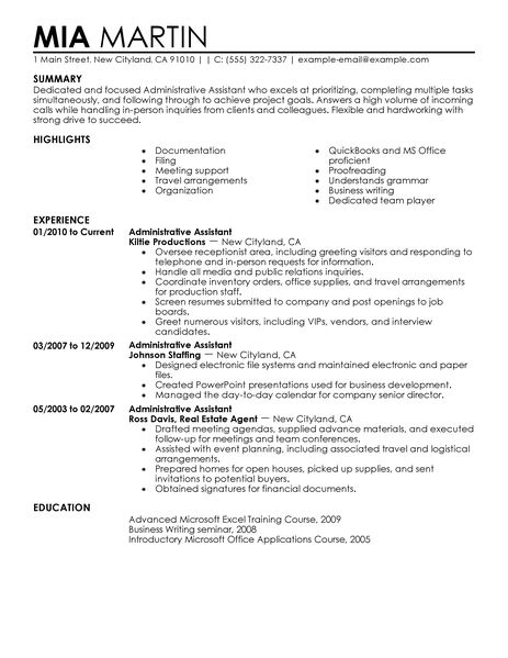 admin assistant cv gopitch co