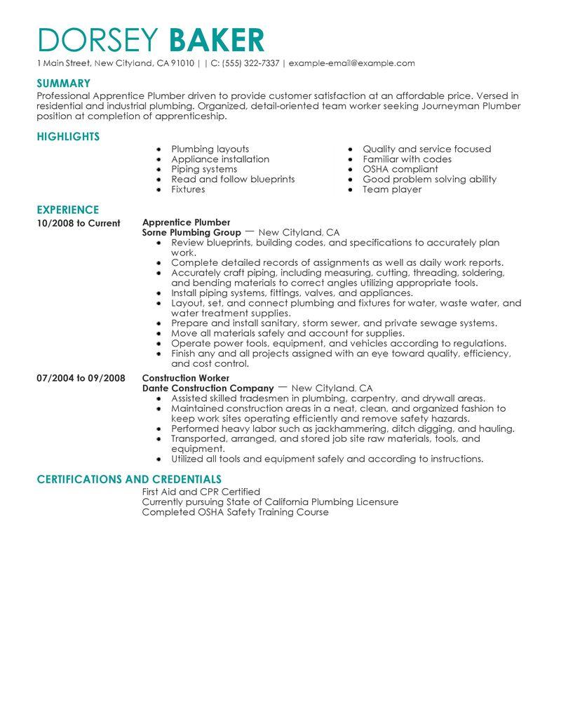resume caregiver resume examples plumber apprentice resume sample