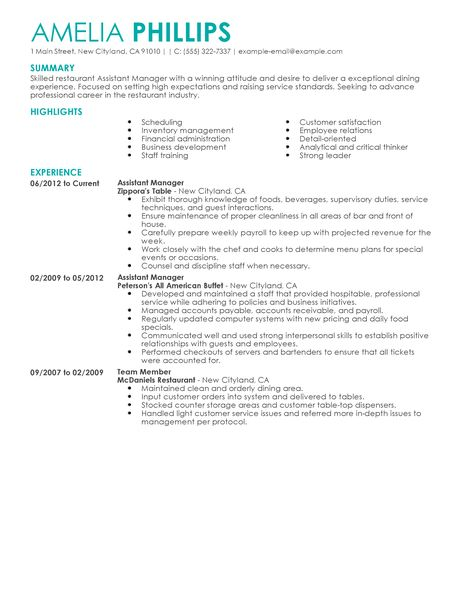 Restaurant Assistant Manager Resume Sample. Assistant General Info