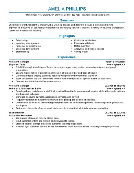 assistant manager resume example restaurant amp bar sample resumes