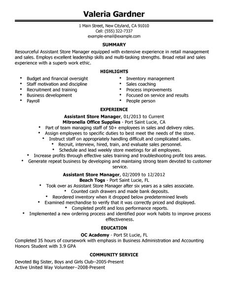 Sample Resume Retail Sales Assistant Manager. Clothing Sales