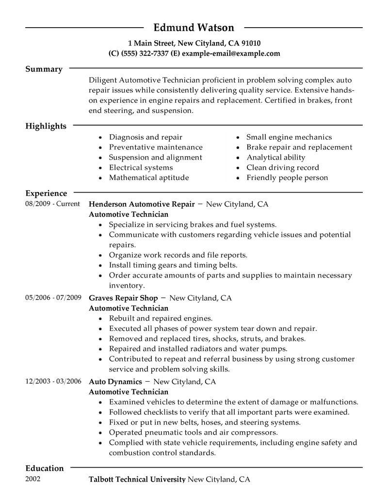 resume templates a i automotive mechanic automotive mechanic resume