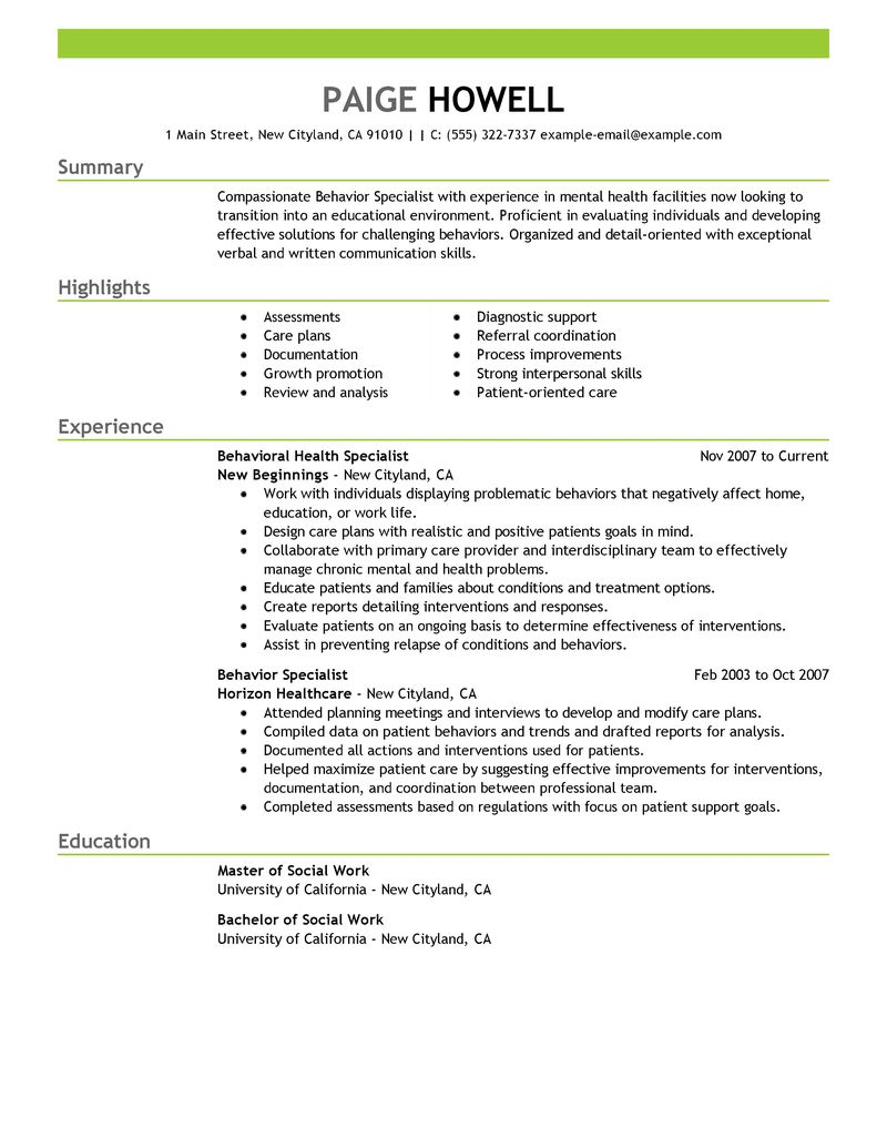 behavior specialist resume examples social services resume samples