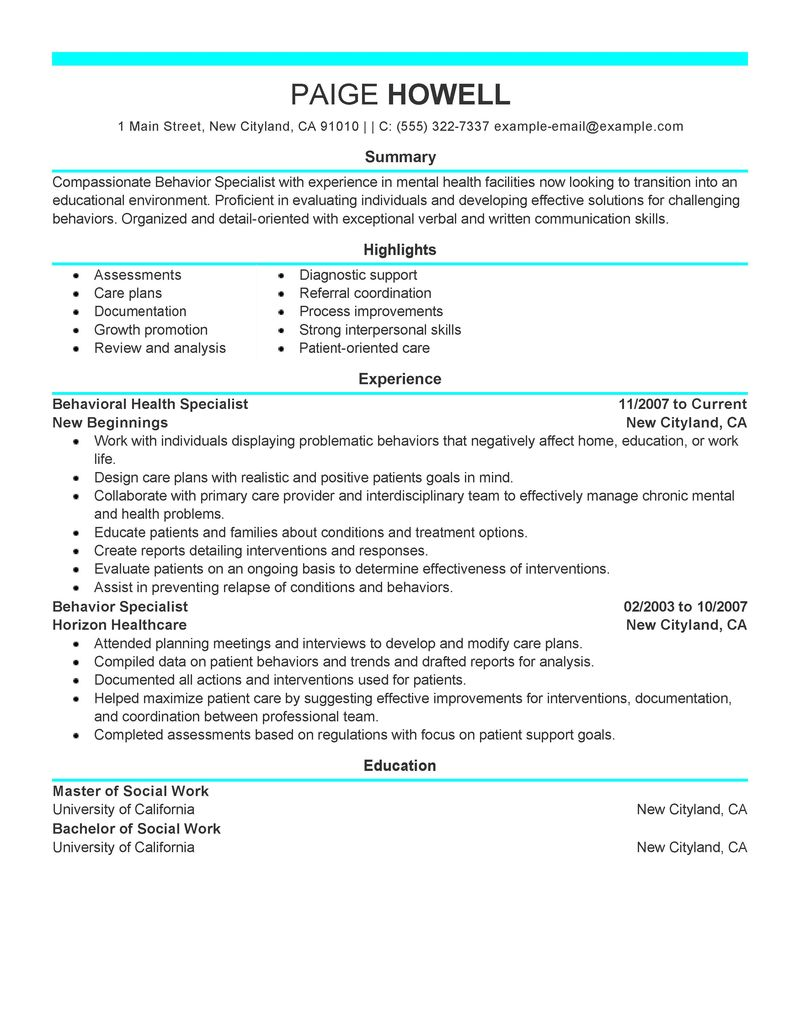 resume examples social services resume samples livecareer