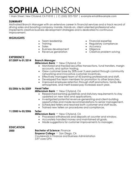 Finance Resume Template. Financial Manager Resume Template Premium