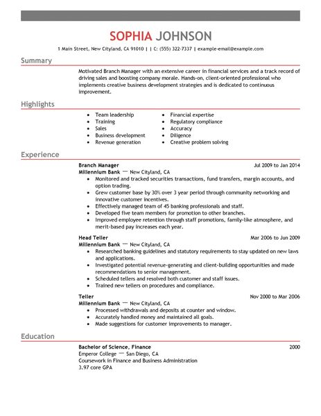 Resume For Bank Manager. Manager Resume Bank Branch Management