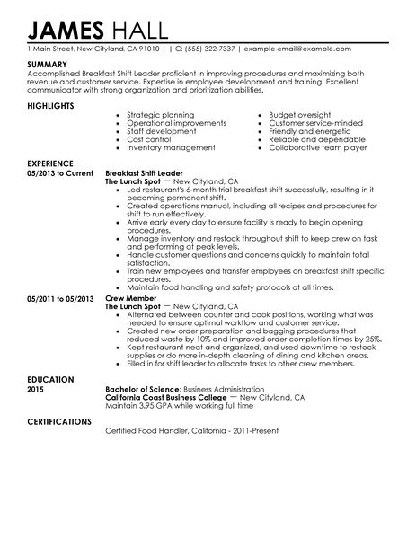 resume examples food amp restaurant resume examples livecareer