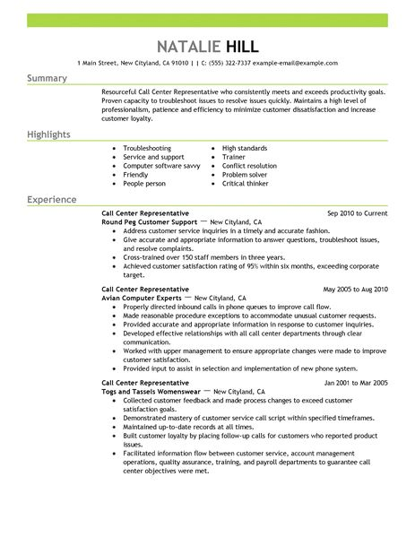 call center representative resume example customer amp service sample