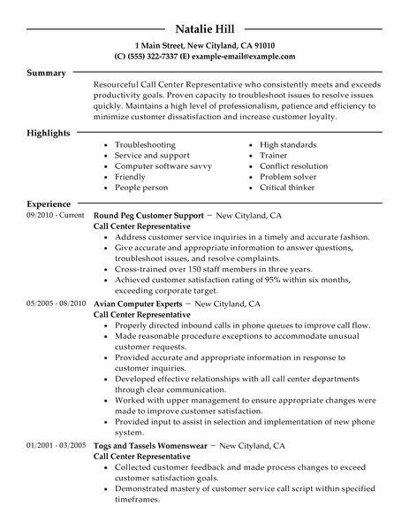 call center resume resume sample